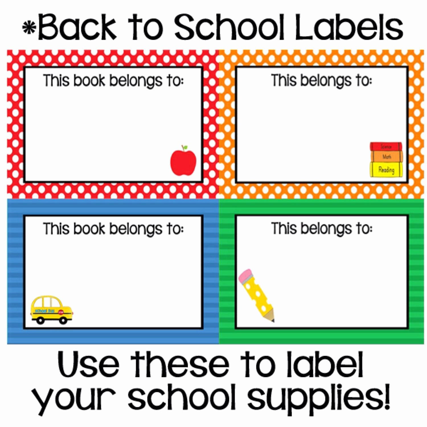 This Book Belongs to Template Awesome Printable Classroom Back to School Labels