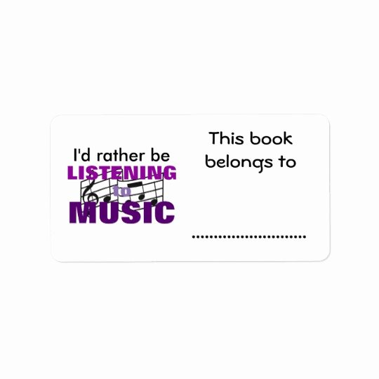 This Book Belongs to Template Inspirational Listen to Music This Book Belongs to Label
