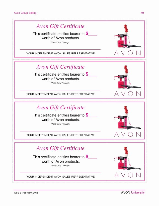 This Entitles the Bearer to Template Certificate Awesome Avon Home Party Plan February 2015