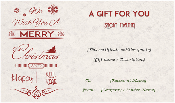 This Entitles the Bearer to Template Certificate Awesome Christmas Gift Certificate Templates Editable and