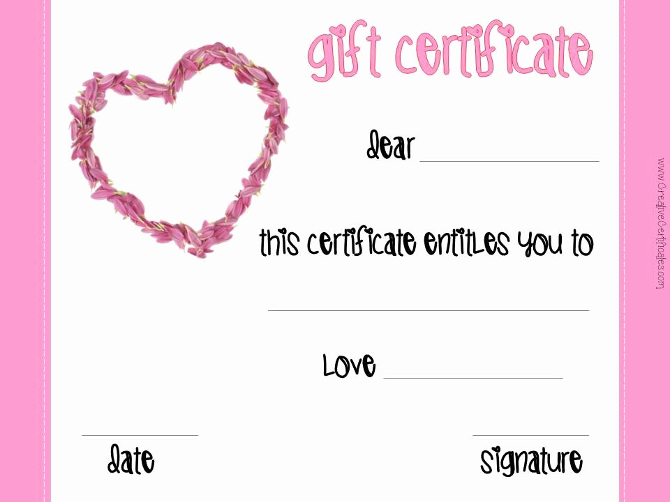 This Entitles the Bearer to Template Certificate Beautiful Free Valentines Day Printables