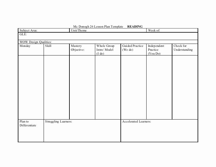 Tiered Lesson Plan Template Best Of Mc Donogh 26 Lesson Plan Template Reading