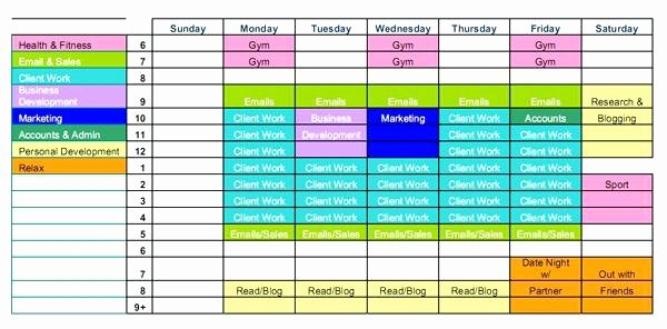 Time Management Plan Template Luxury Time Management Weekly Schedule Template Excel Download by