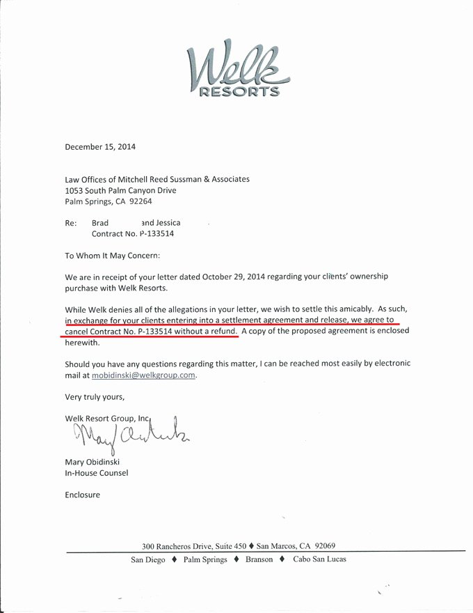 Timeshare Cancellation Letter Awesome Timeshare Cancellation
