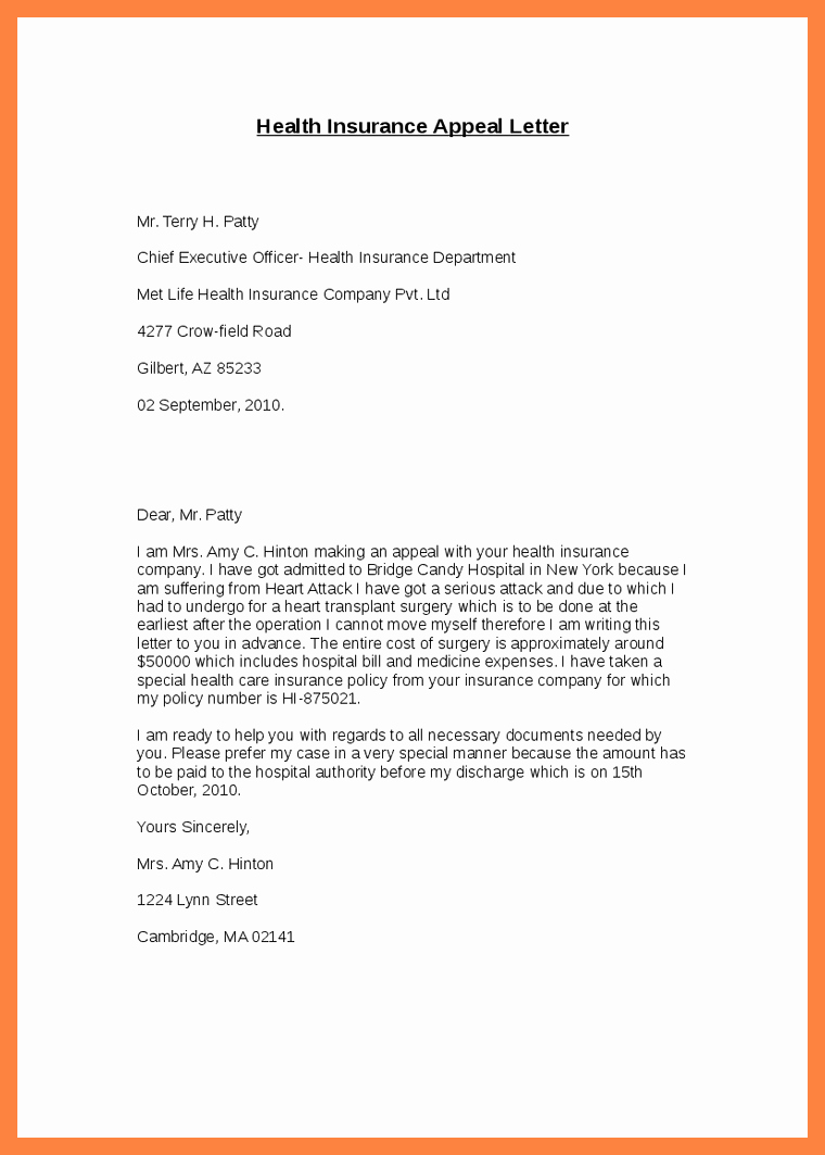 Timeshare Cancellation Letter Sample Elegant 9 Appeal Letter for Medical Bill
