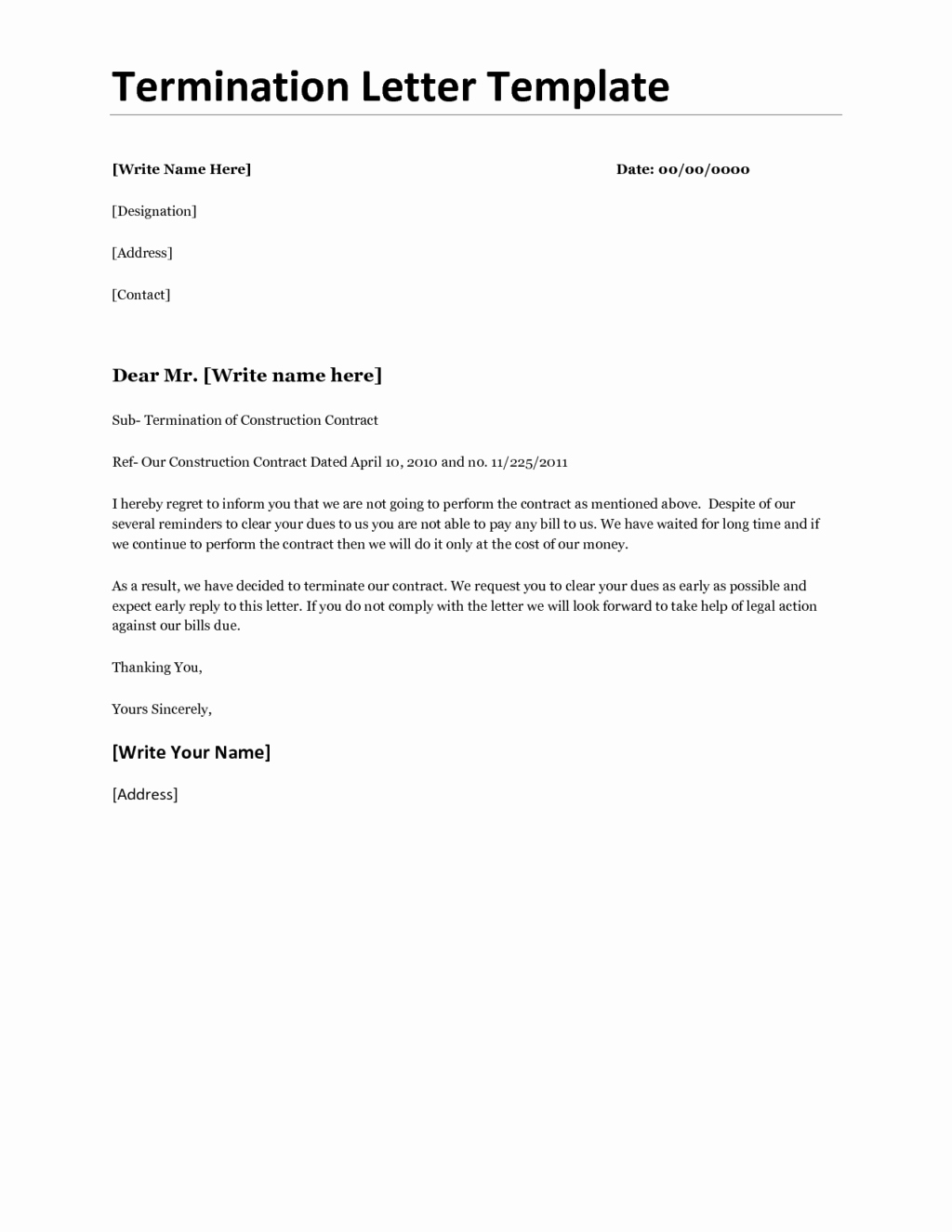 Timeshare Cancellation Letter Sample Luxury Business Contract Termination Letter for Non Renewal