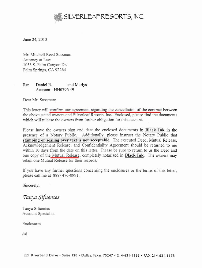 Timeshare Cancellation Letter Template Beautiful Silverleaf Resorts Timeshare Cancellation Get Out Of