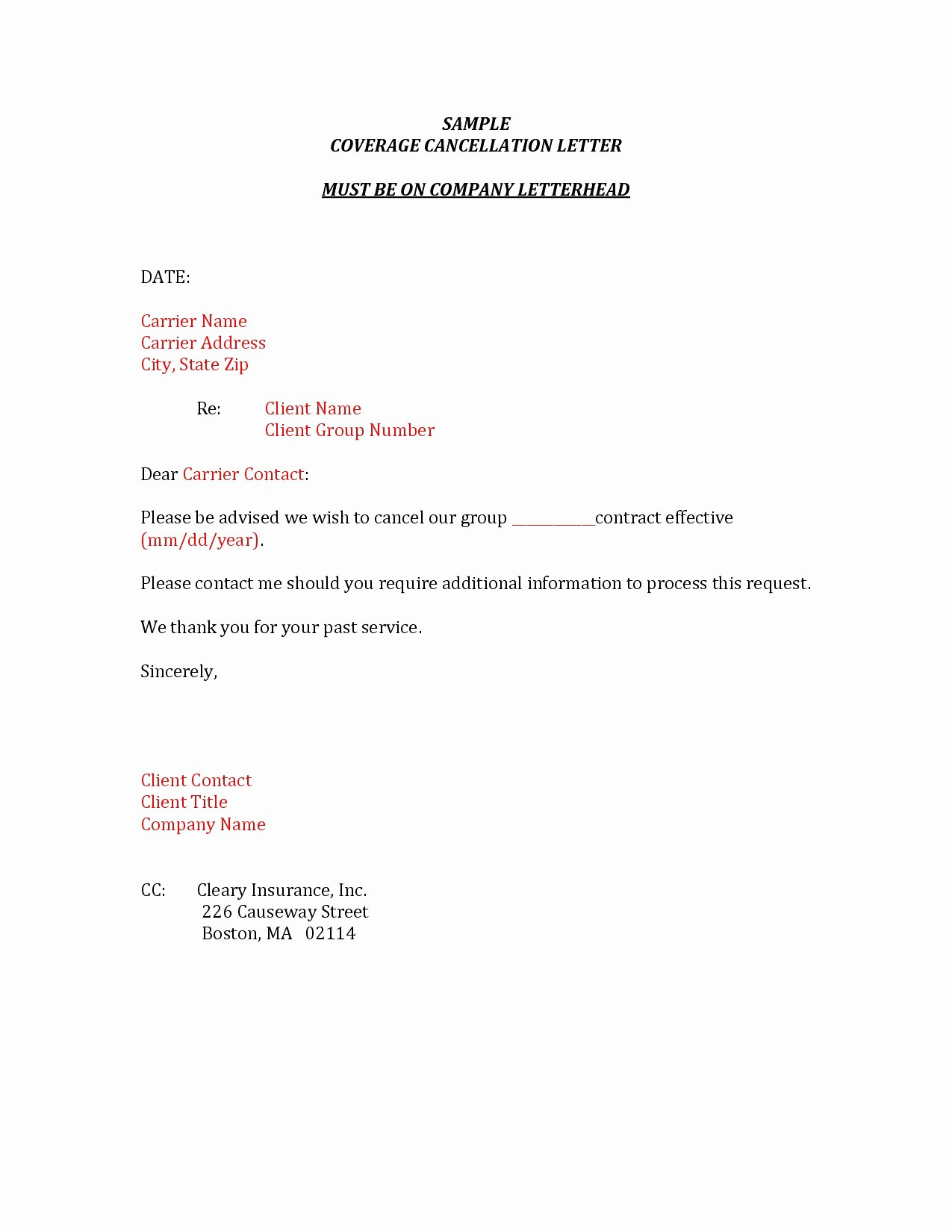 insurance cancellation letter template