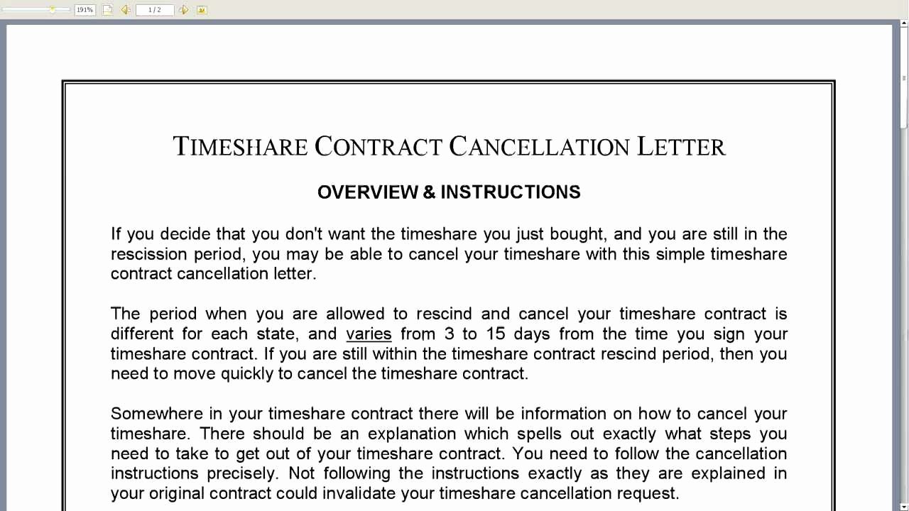 Timeshare Cancellation Letter Template Luxury Timeshare Contract Cancellation Letter
