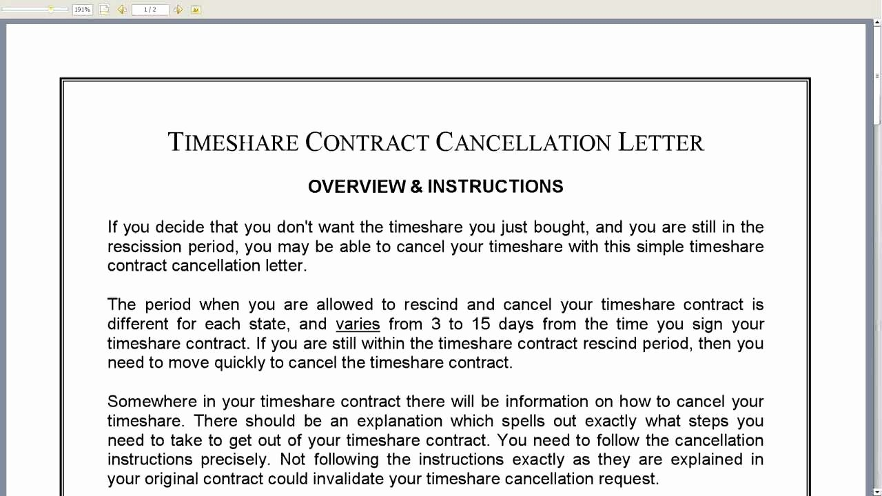 Timeshare Cancellation Letters Best Of Timeshare Contract Template