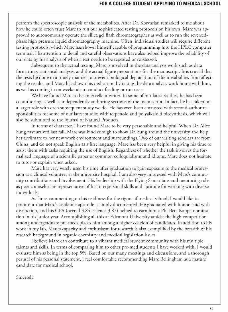 Tmdsas Letter Of Recommendation Unique Medical School Application Letter Sample