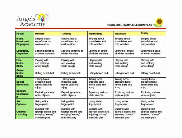 Toddler Lesson Plan Template Fresh toddler Lesson Plan Template 9 Free Pdf Word format