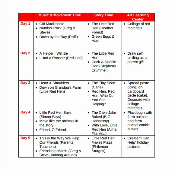 Toddler Lesson Plan Template Luxury Sample toddler Lesson Plan 8 Documents In Pdf Word