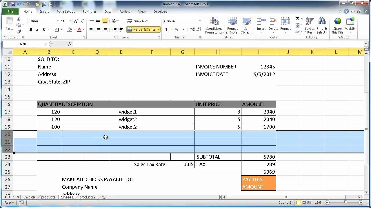 Track Invoices and Payments Excel Awesome Create An Invoice In Excel 2010