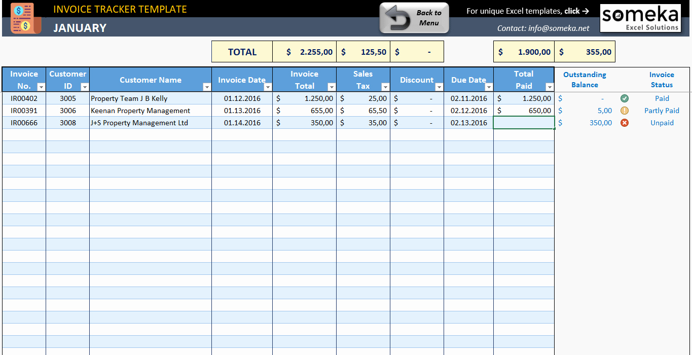 Track Invoices and Payments Excel Lovely Invoice Tracker Free Excel Template for Small Business