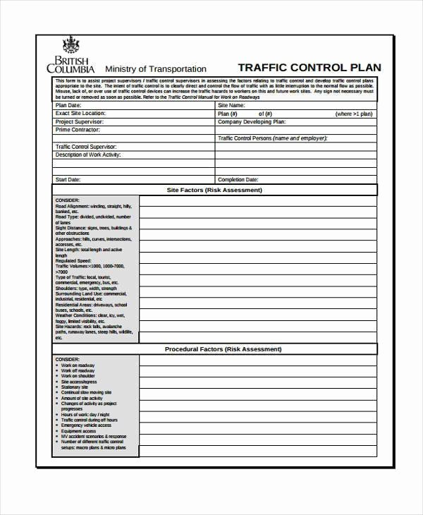Traffic Control Plan Template Luxury Control Plan Template