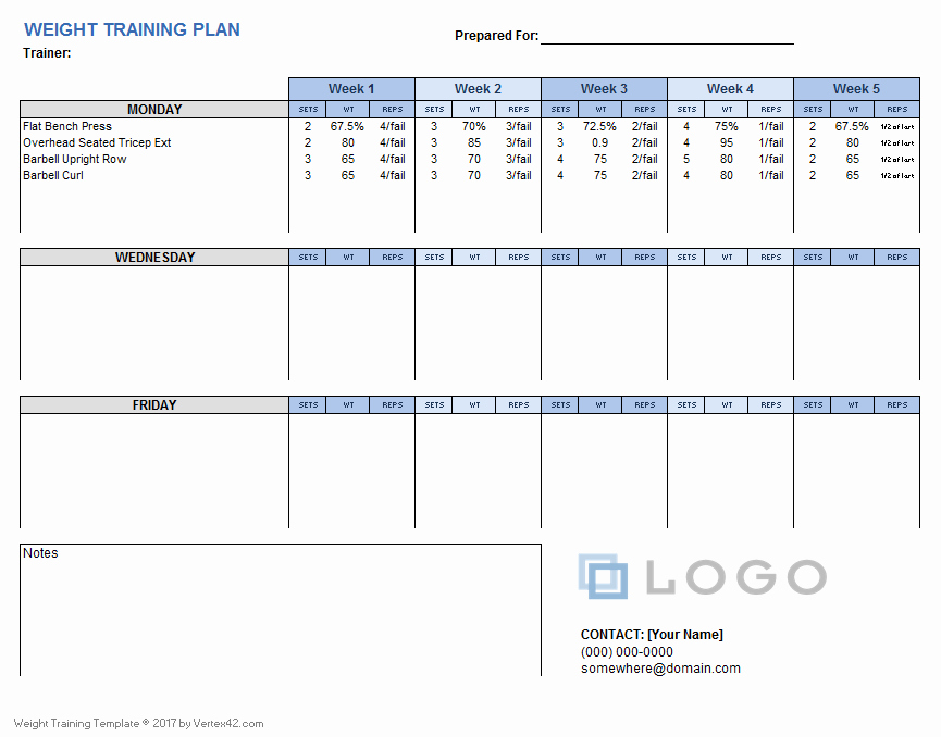 Training Plan Template Excel Inspirational Weight Training Plan Template for Excel
