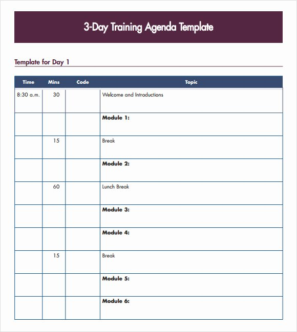 Training Plan Template Word Inspirational 8 Training Agenda Samples Pdf Word