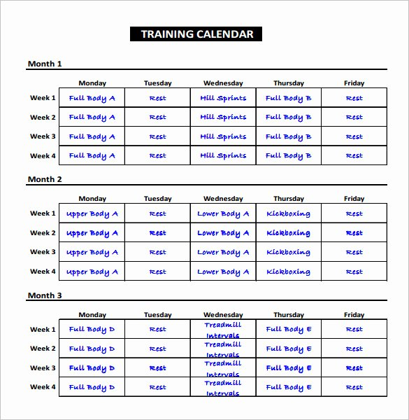 Training Plan Template Word Lovely Exercise Schedule Template – 7 Free Word Excel Pdf