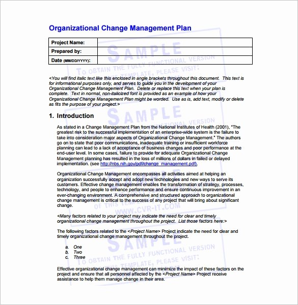 Transition Management Plan Template Awesome 14 Change Management Plan Templates Free Sample