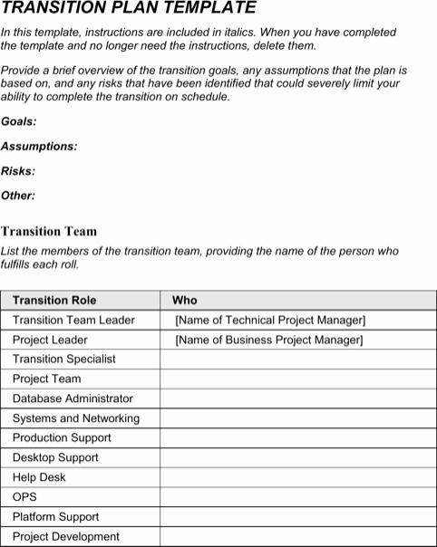 Transition Management Plan Template Unique Transition Plan Template Templates&forms