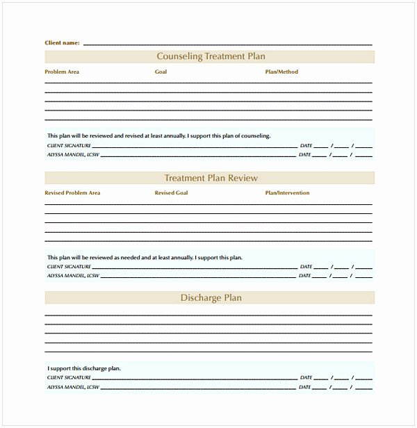 Treatment Plan Template for Counseling Awesome Counseling Treatment Plan Template Pdf