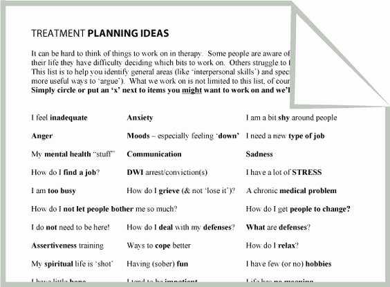 Treatment Plan Template for Counseling Inspirational Mental Health Treatment Planning Ideas Worksheet Google