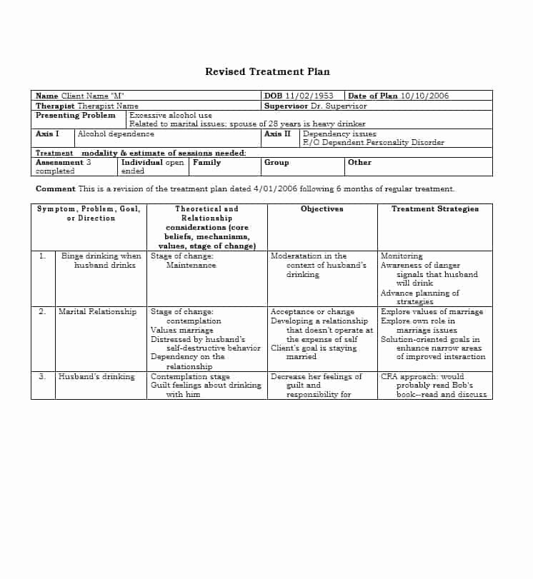 Treatment Plan Template for Counseling Lovely 35 Treatment Plan Templates Mental Dental Chiropractic