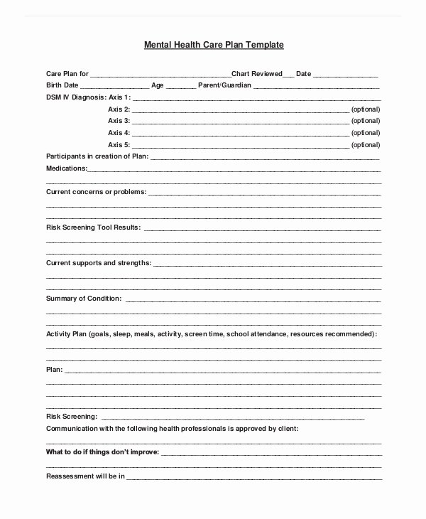 Treatment Plan Template Mental Health Awesome 11 Mental Health Care Plan Templates Pdf Doc
