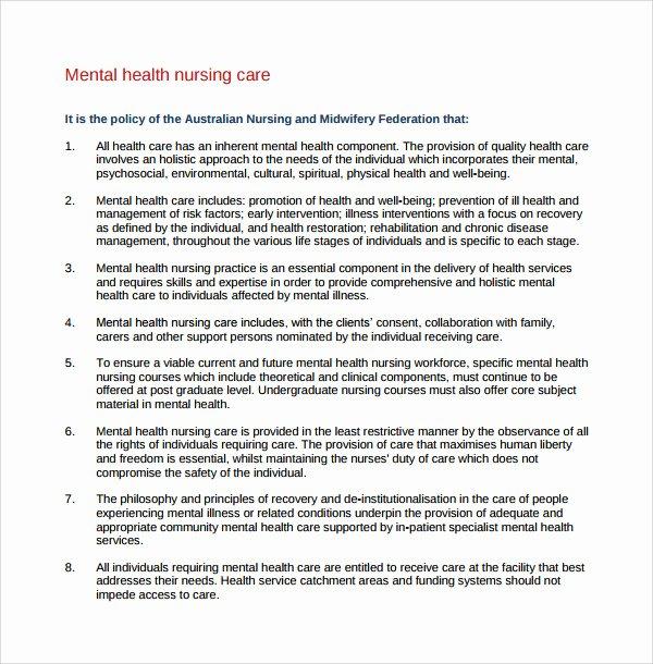 Treatment Plan Template Mental Health Awesome 8 Nursing Care Plan Templates