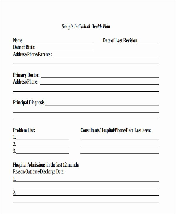 Treatment Plan Template Mental Health Lovely Health Care Plan Template 12 Word Pdf format Download