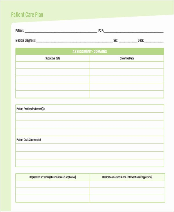 Treatment Plan Template Word Inspirational Care Plan Template 16 Word Pdf format Download