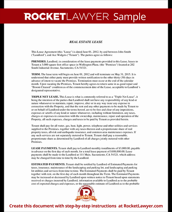 Triple Lease Agreement Inspirational Triple Net Lease form Nnn Lease Agreement Template with
