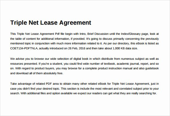 Triple Lease Agreement New Net Lease Agreement Template 8 Download Free Documents