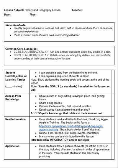 Tutor Lesson Plan Template Inspirational Mon Core History Lessons Free Lesson Plan Template
