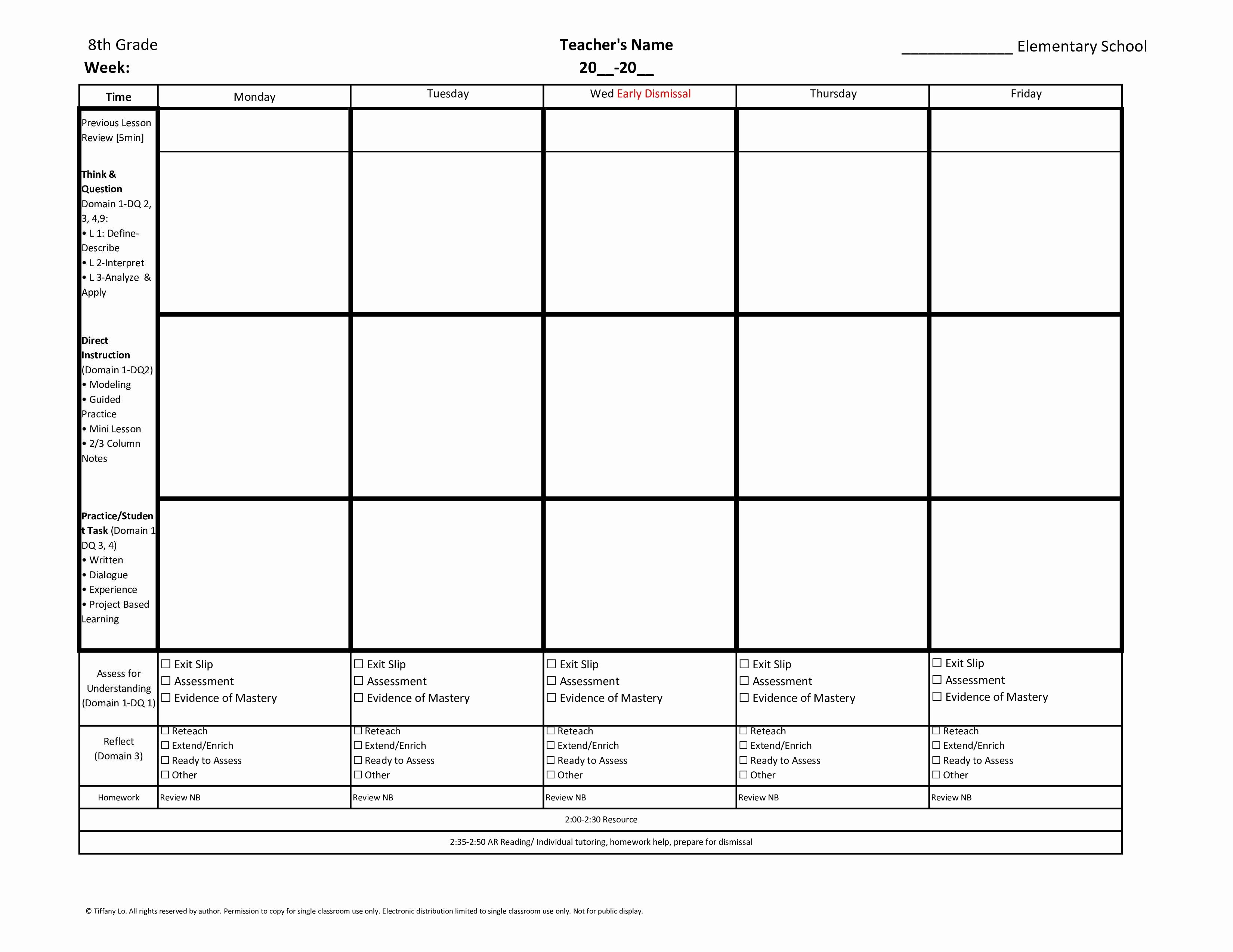 Tutoring Lesson Plan Template New 8th Eighth Grade Mon Core Weekly Lesson Plan Template W