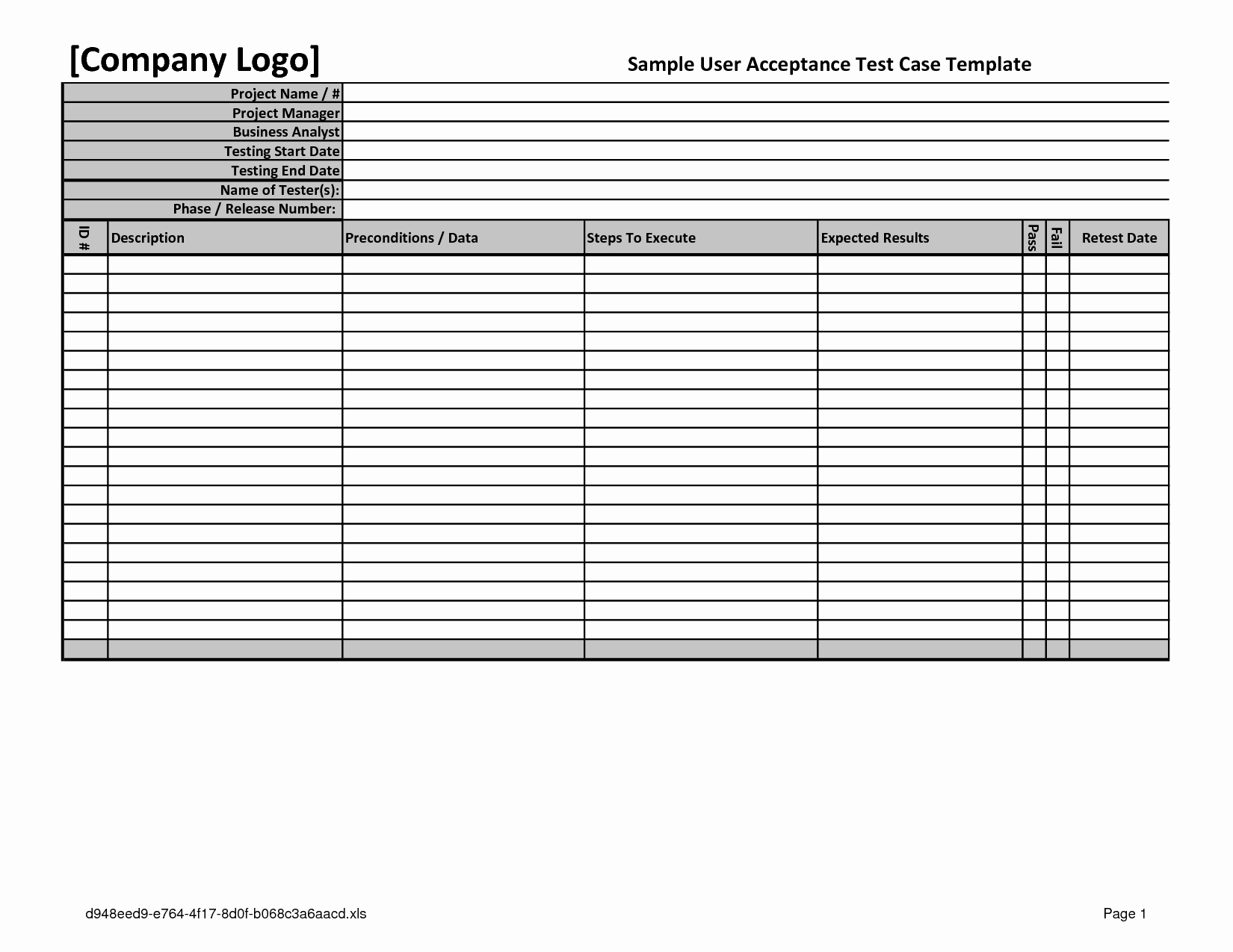 Uat Testing Plan Template Awesome Excel Template