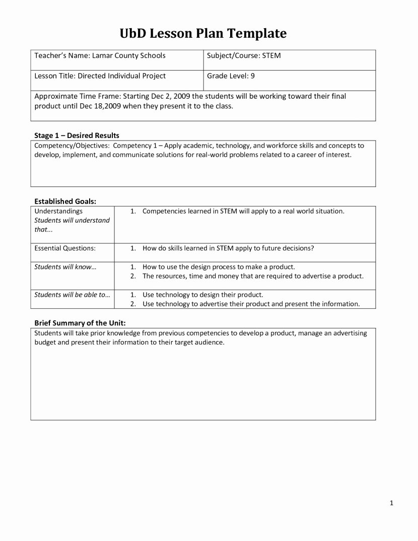 Ubd Lesson Plan Template Awesome Ubd Template Lesson Plan