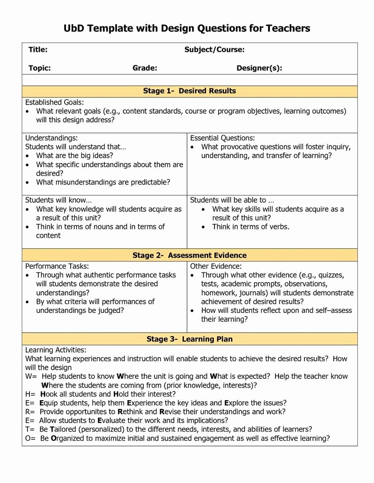 Ubd Lesson Plan Template Beautiful Understanding by Design Template