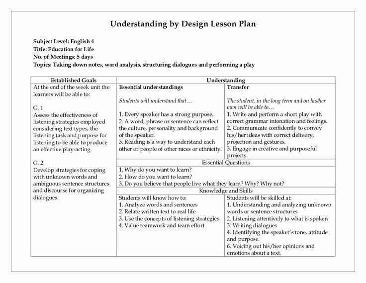 Ubd Lesson Plan Template Best Of 14 Best Images About Ubd Lessons On Pinterest