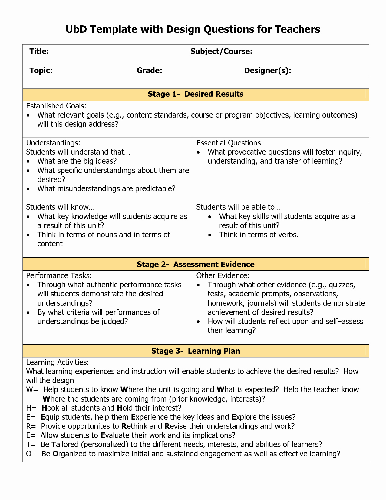 Ubd Lesson Plan Template Elegant Blank Ubd Template Things for the Classroom