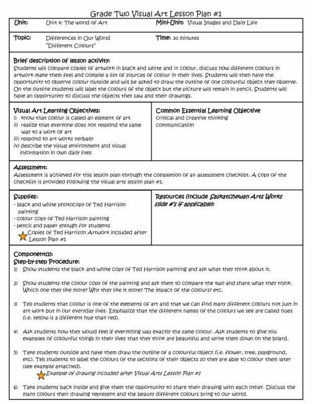 Ubd Lesson Plan Template Fresh Sample Art Lesson Plans Template