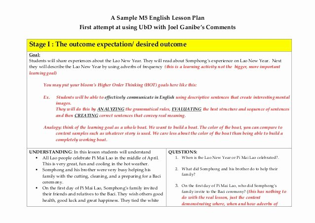 Ubd Lesson Plan Template Luxury A First attempt at Ubd Lesson Plan with some Ments