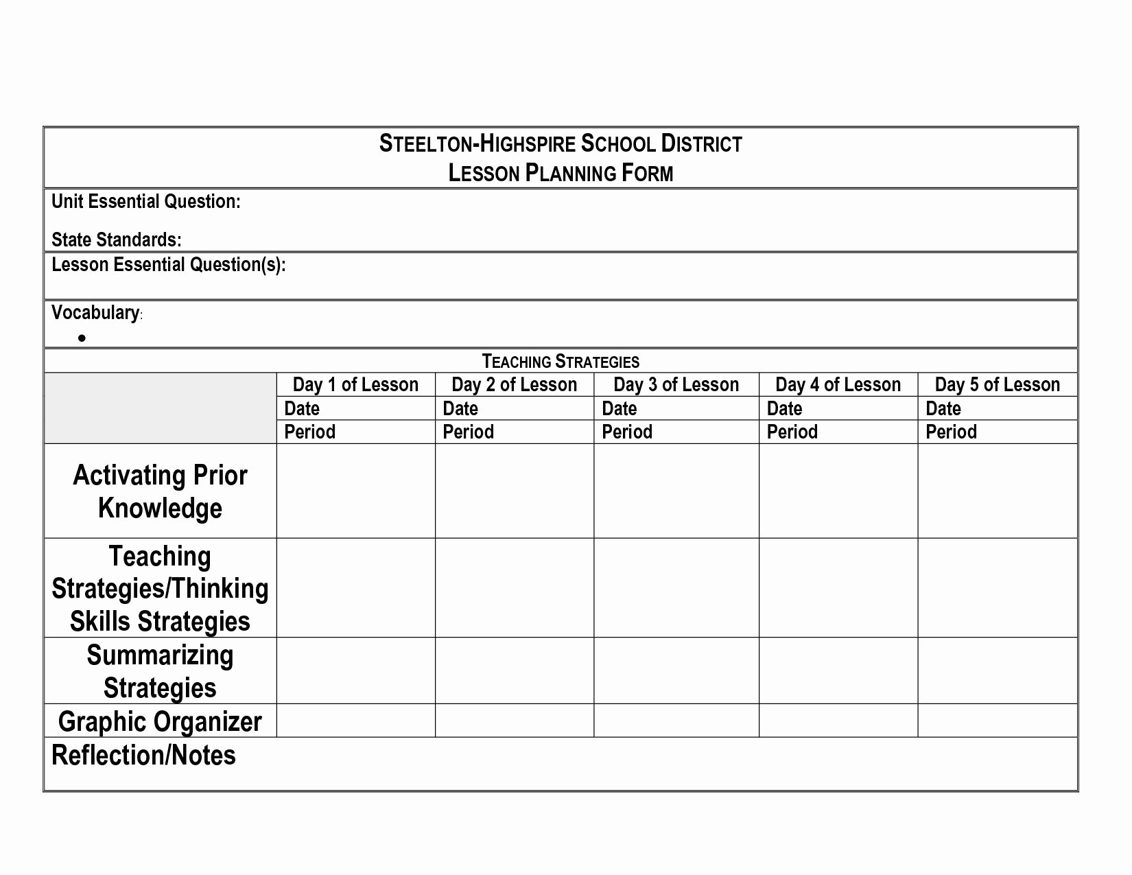 Ubd Unit Plan Template Luxury Simple Stock Blank Ubd Lesson Plan Template