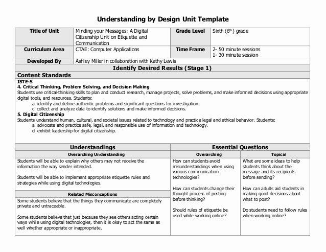 Ubd Unit Plan Template Unique Digital Citizenship Collaborative Unit Lesson Plan
