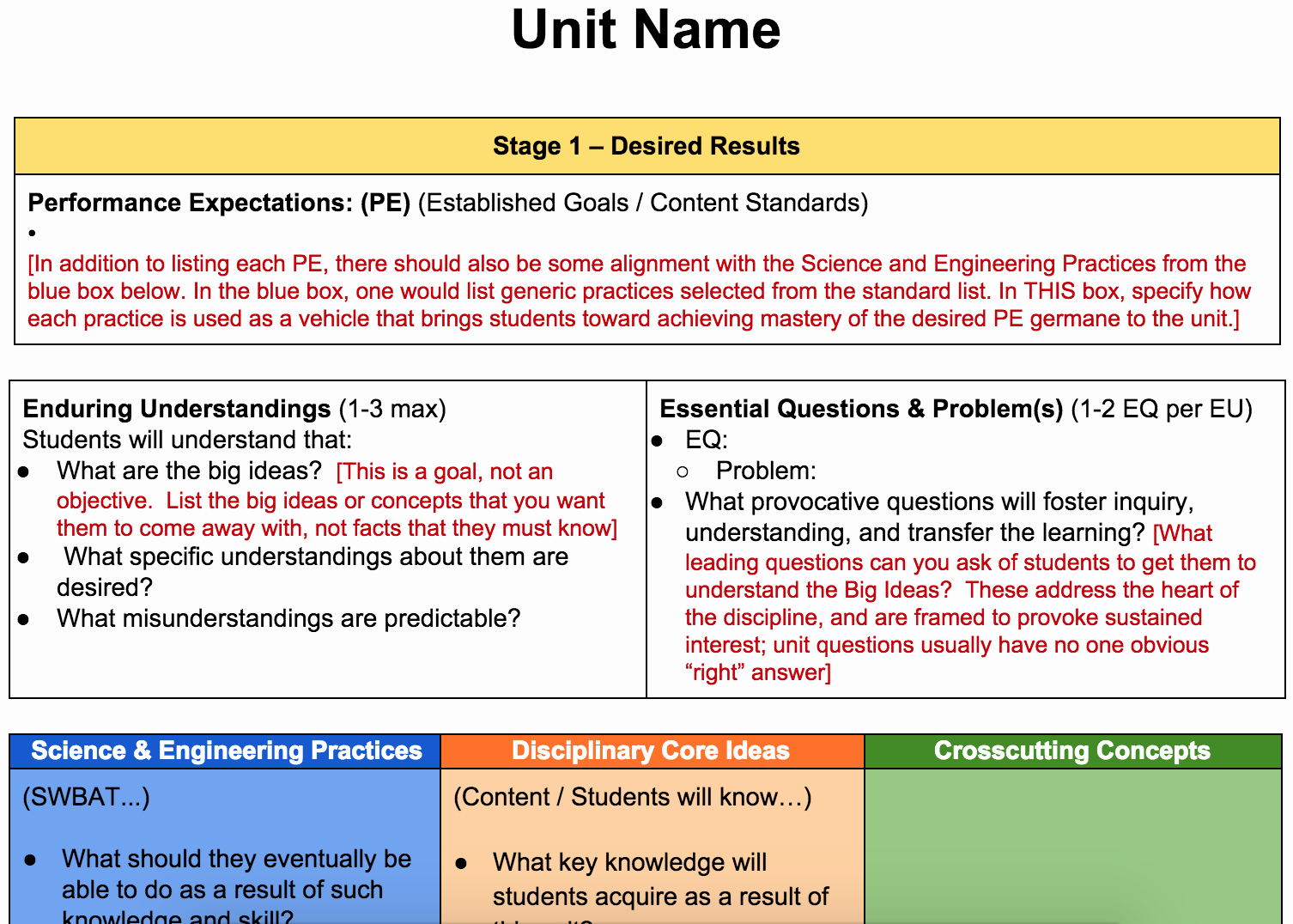 ngss ubd unit planing template btanj