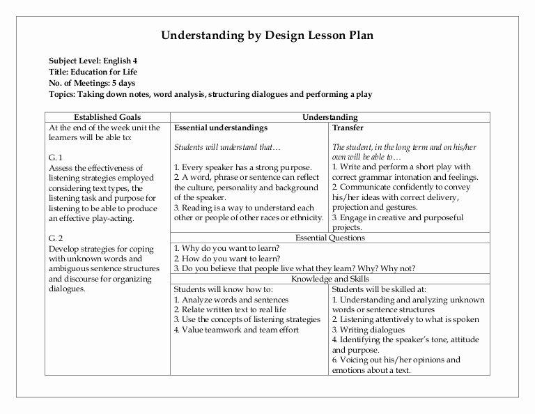 Ubd Unit Plan Template Unique Understanding by Design Lesson Plan