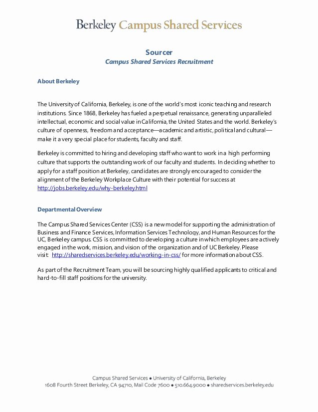 Uc Berkeley Recommendation Letter Lovely Job Announcement sourcer Uc Berkeley Campus D
