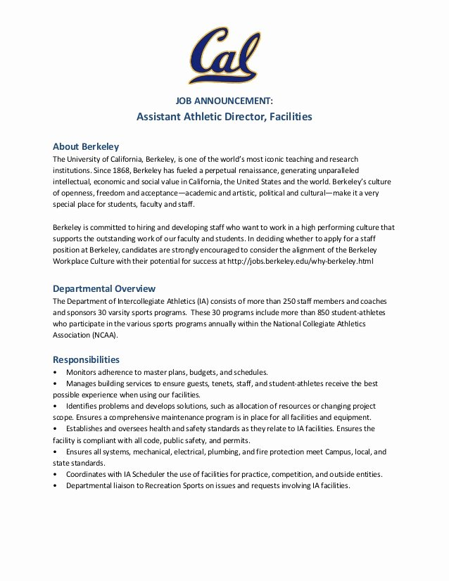 Uc Berkeley Recommendation Letter Luxury Hot Jobs assistant athletic Director Facilities Uc Berkeley