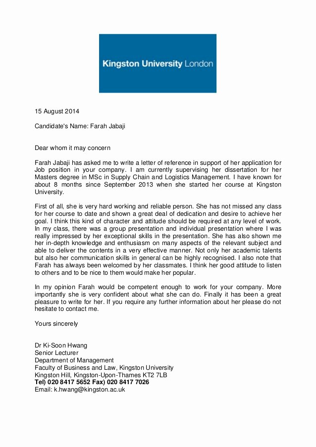 Uc Letter Of Recommendation Awesome Academic Reference Letter Kingston University